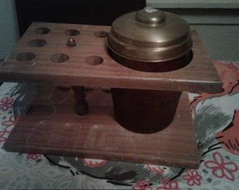 Vintage Glass Humidor With Wood Holder