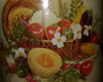 Vintage  Pottery Churn Crock/Still Life Decal/Basket/Tomatoes/ Corn/Carrots/ Mellon/ Bell Peppers/