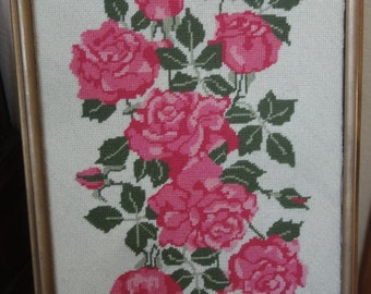 Vintage Pink Roses Needlepoint