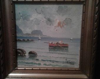 Small Vintage Impressionist/Signed Petrilli/ Sailboats/Ocean/ Rocks/ Cliffs