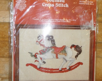 Vintage 1984 Rocking Horse Cross Stitch/ Never Opened