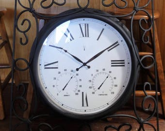 Large Wrought Iron Wall Clock/ Thermomer/Barometer/Heavy