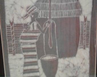 African  Batik/ Mother/Child/ Hut/ Cooking Pot/Pottery/ Makers  Mark