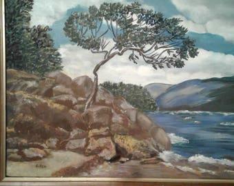 Vintage Oil Seascape On Canvas/ Signed C. Rea/ Ocean/ Tree/Rocks