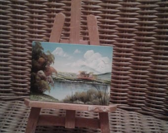 Vintage Miniature Painting On Board/Signed/ Trees/ Lake/ Pond/ Hills/ Clouds/Birds