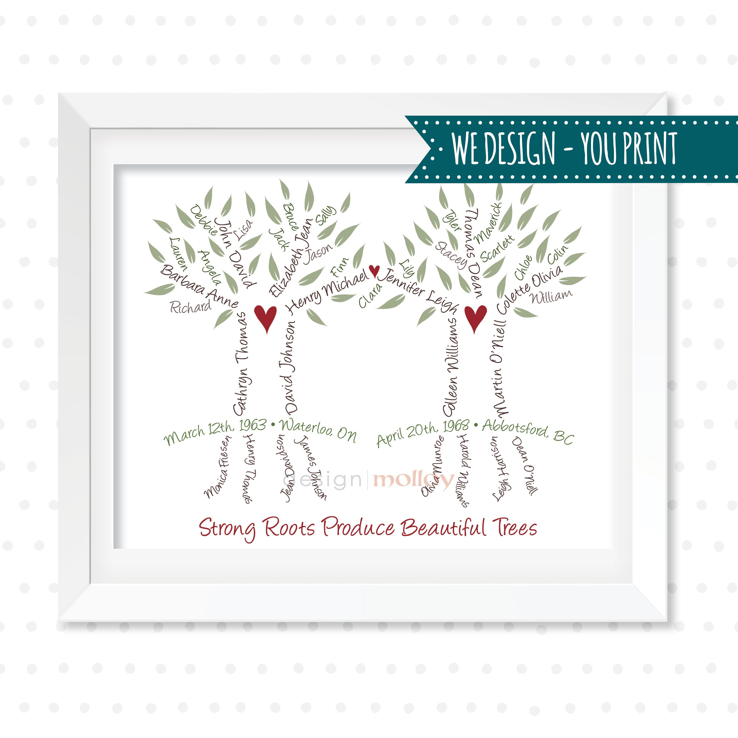 Pizza Blended Family Wedding Artwork DIGITAL FILE Personalized 3 Generation Family Tree Custom Anniversary Gift