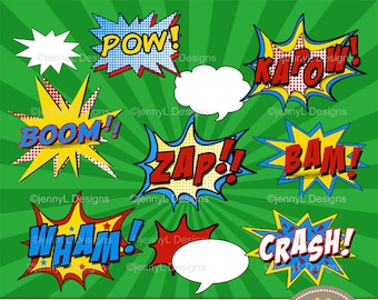 Superhero Comic Sound Effects clipart, Super Hero words, Comics, Cartoons, Comic Book, Action Words, also as Printable Party Booth in pdf
