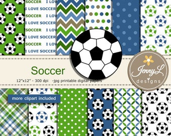 Soccer Digital Papers And Ball Clipart For Birthday Sport School Scrapbooking Paper Party Theme Planner