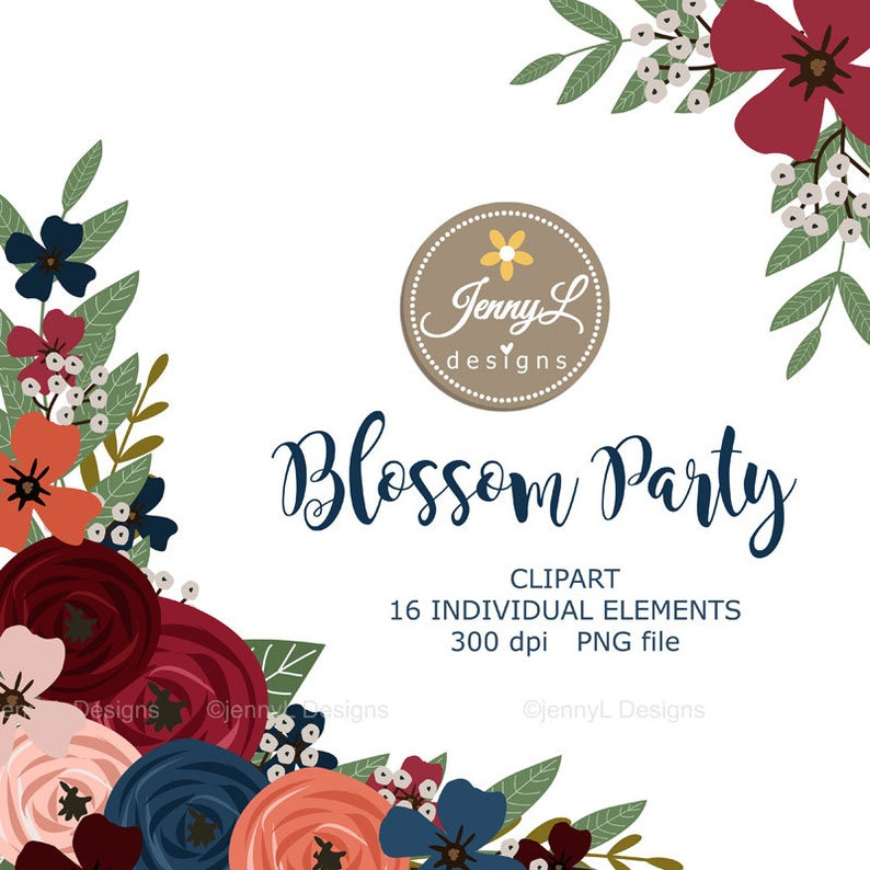 Navy Blue Flower Clipart Elements Burgundy Wedding Flowers ...