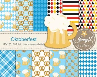 Oktoberfest Digital Paper, Beer Clipart, Pretzels for Digital Scrapbooking, Invitations, Planner