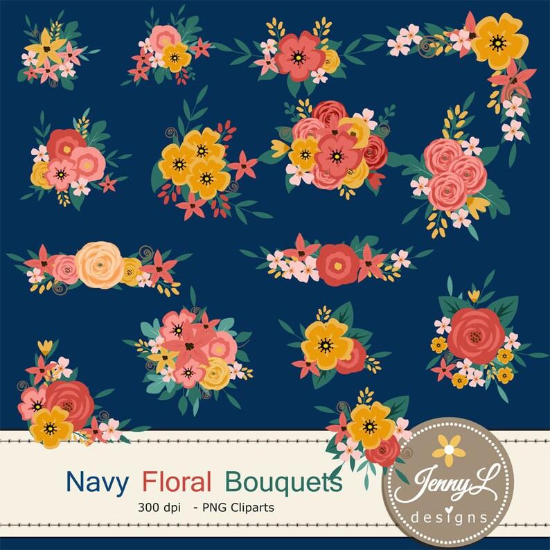 Navy Blue Flower Bouquet Clipart Peach Wedding Flowers image 0