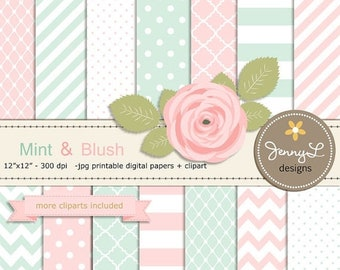 50% OFF Mint and Blush Pink Digital Paper, Blush Rose Flower Clipart for Wedding, Bridal Baby Shower, Birthday, Digital Scrapbooking, Invite