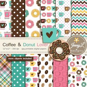 BUY 2 GET 1 FREE Coffee Donut Digital Paper,Sprinkles Digital Paper,Heart Digital Paper,Brown Digital Paper,Pink Digital Paper