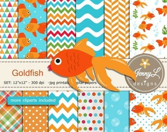 50% OFF Goldfish Digital Papers and Clipart SET, Gold fish, animal for Birthday, Digital Scrapbooking, Invitation, Planners