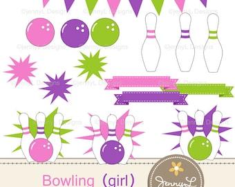 Bowling Balls, Pins, Strike Clipart for Birthday, digital Scrapbooking, Wedding, Baptism, Pink Girl Bowling