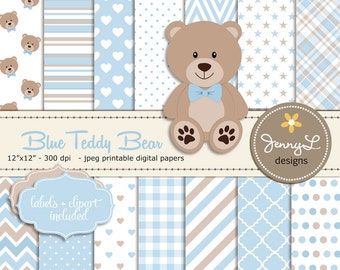 Blue Teddy Bear Digital papers, Teddy Bear clipart, Baby Shower, Baptism, Nursery, Scrapbooking Papers, Birthday, Baby Boy, Blue and Brown