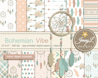Bohemian tribal Digital Paper and Dream catcher, Feather Clipart for Digital Scrapbooking, Stickers, wedding, birthday