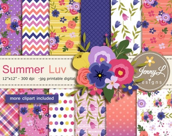 Summer Floral Digital Papers and Flowers Clipart SET for Digital Scrapbooking, for Planners, Stickers, Invitations, Background