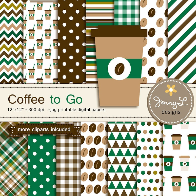 Coffee Digital papers and Coffee bean Clipart Coffee Cup on image 0