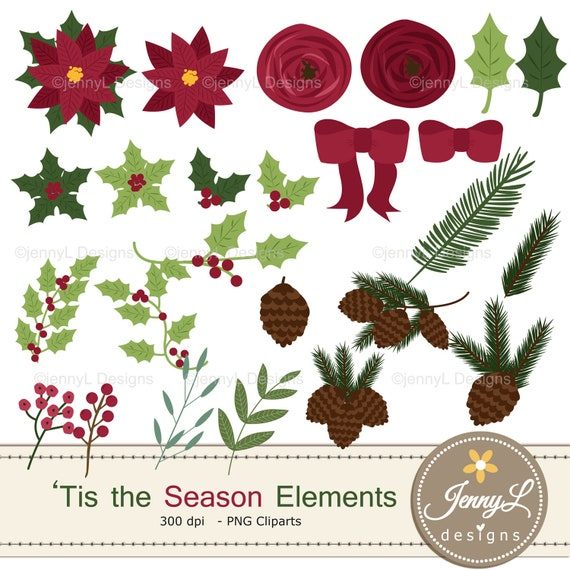 Christmas Flower Clipart Elements Poinsettia Flowers Flowers Floral Arrangement For Digital Scrapbooking Wedding Invitations Holiday By Jennyl Designs Catch My Party