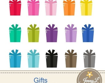 50% OFF Gifts Clipart, Present Birthday Gift for Planners, Digital Scrapbooking, Invitations, cupcake toppers, Stickers, Labels