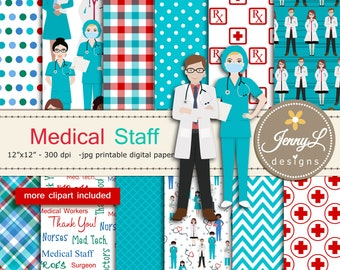 Medical Doctors Nurses Digital Paper Medical Worker and Stethoscope Virus Clipart SET for Digital Scrapbooking, Planners, Stickers, Cards