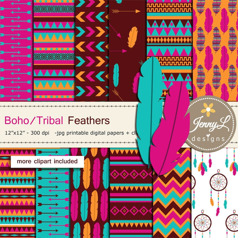 Boho Feather Tribal digital papers and clipart SET image 0