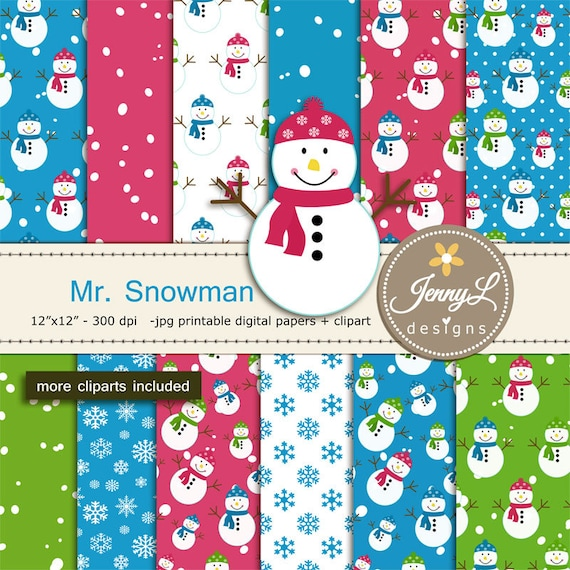 Snowman Digital Papers And Clipart Winter Snow Digital Papers Snowflakes Digital Paper Frosty Frozen Flurries Christmas By Jennyl Designs Catch My Party