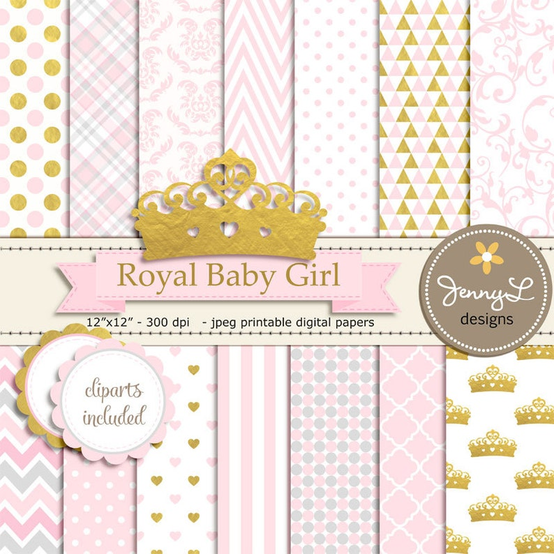Crown Digital papers and Clipart Royal Princess Girl Baby image 0