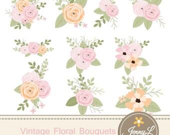 Floral Flower Clipart, Vintage Wedding Flowers bouquet, Antique  Ranunculus clipart for digital Scrapbooking, Wedding, Birthday Invitations