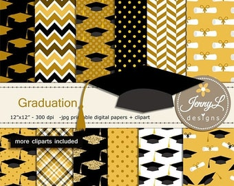 50% OFF Graduation Digital Papers & clipart SET, Commencement, Certificate, Graduation Hat for Digital Scrapbooking,  invitations Planner