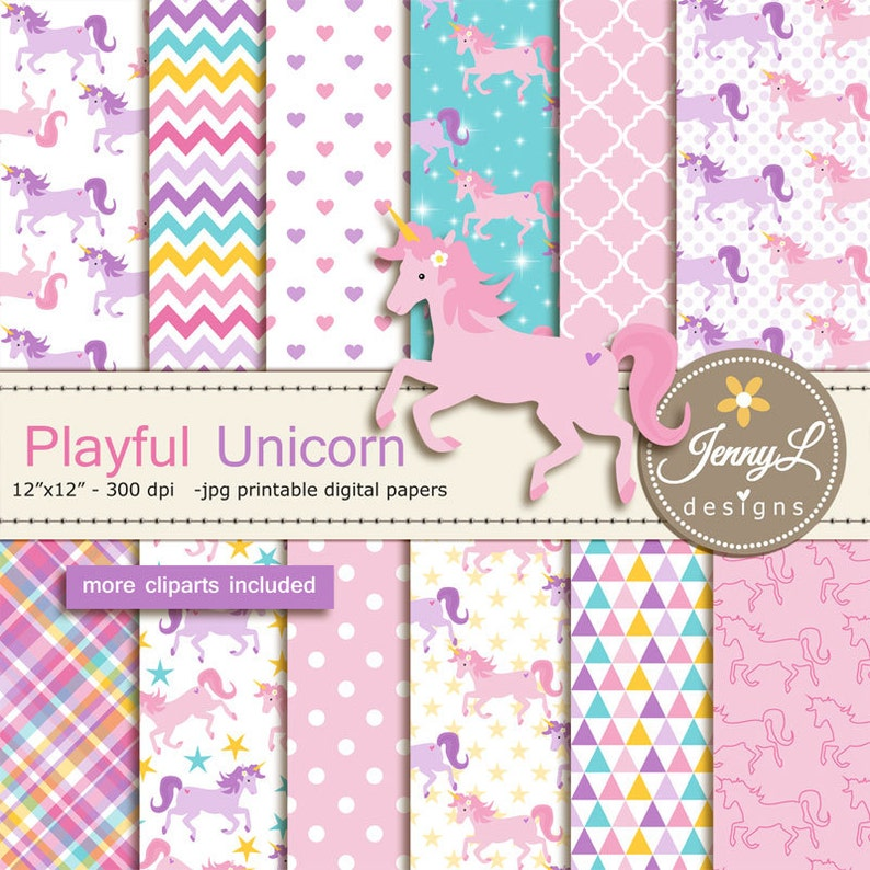Unicorn Digital Papers and Cliparts Pegasus Pony for image 0