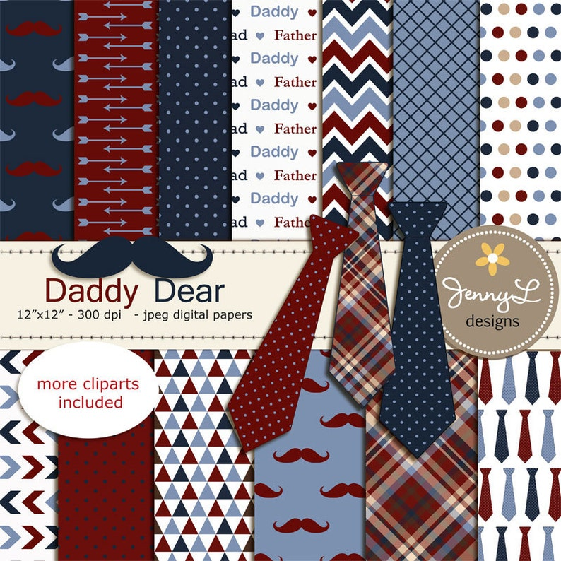 Father's Day Digital papers Necktie Mustache Clipart image 0