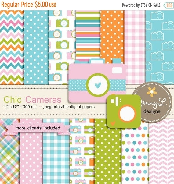 40 OFF Camera Digital Paper And Clipart For Photography Birthday Invitations Baby Shower Wedding Scrapbooking Etsy Banners L
