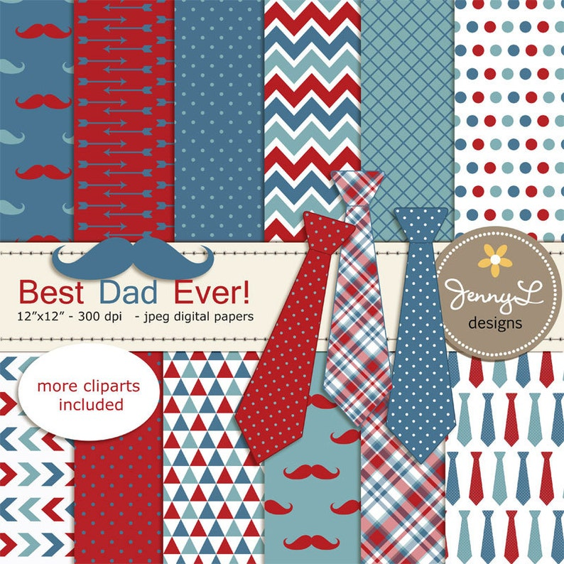 Necktie and Mustache Digital Papers Father's Day Digital image 0