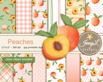 Summer Peaches Digital Papers and Peach Fruit Clipart SET for Digital Scrapbooking, for Planners, Stickers, Invitations, Background