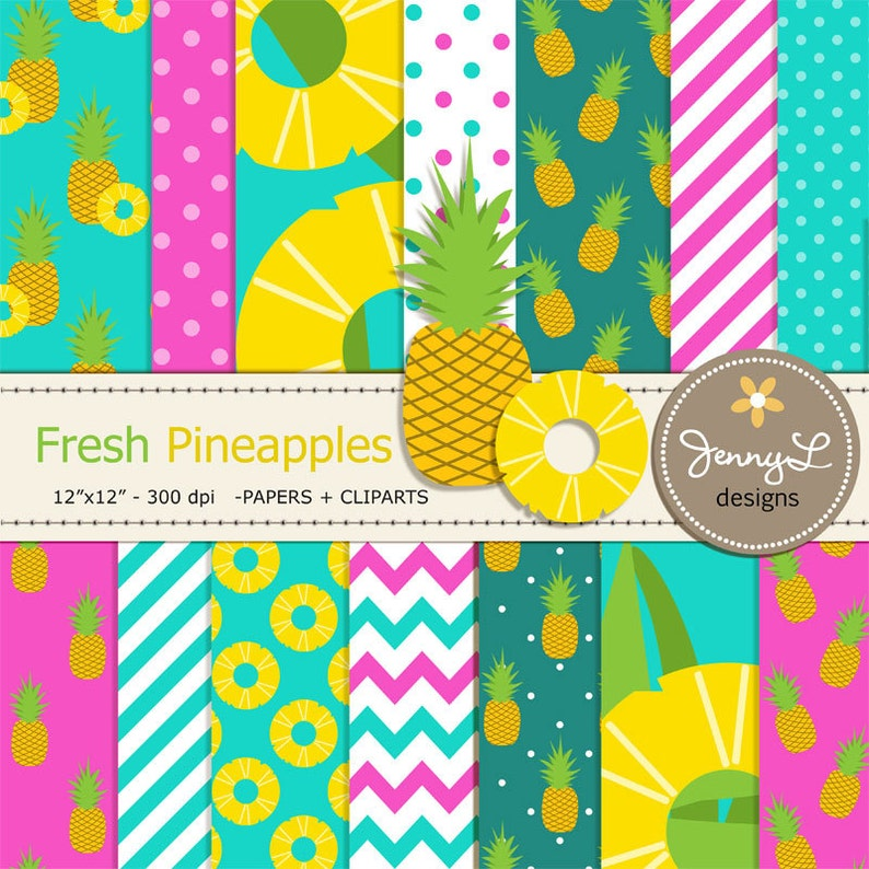 Pineapples Digital Papers and Cliparts Pineapple Slice Aloha image 0