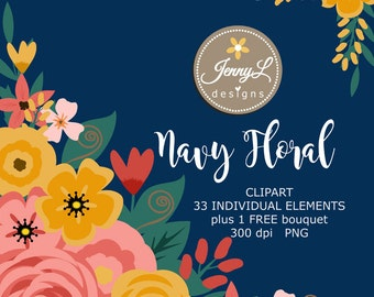 Navy Blue Flower Individual Element Clipart, Wedding Flowers, Shabby Flower, Floral Arrangement for digital Scrapbooking, Wedding, In