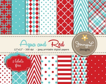 Aqua Blue and Red Digital Papers, Red and Turquoise for Wedding, Birthday, Baby Shower, Communion, Baby Baptism, Birth announcement, Plaid