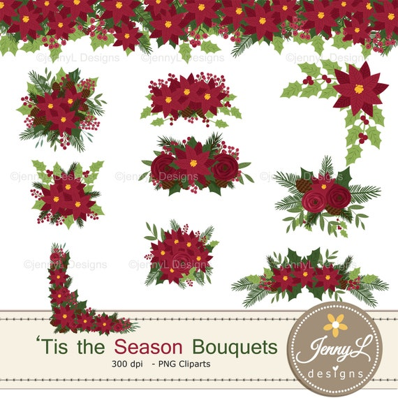 Christmas Flower Bouquet Clipart Poinsettia Floral Drop Wedding Bouquet Clipart For Digital Scrapbooking Wedding Birthday Invitations By Jennyl Designs Catch My Party