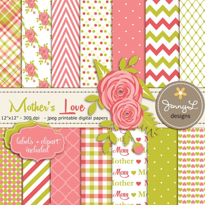 Mother's Day Digital Paper Flower Clipart Lime and Coral image 0