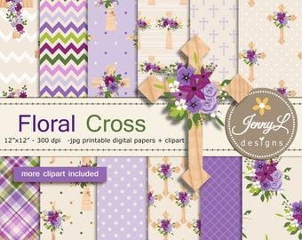 Floral Cross Digital Papers and Wooden cross Clipart SET for Digital Scrapbooking, Planners, Stickers, Invitations, Holy Week, Baptismal