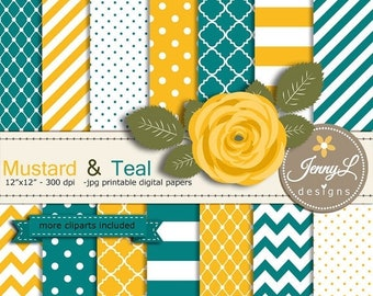 50% OFF Mustard and Teal Digital Paper, Yellow Flower Clipart for Wedding, Bridal Baby Shower, Birthday, Digital Scrapbooking, Planners