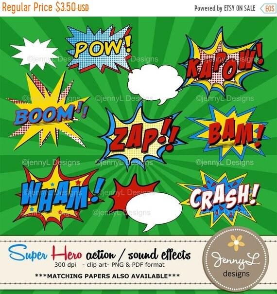 40% OFF Superhero Comic Sound Effects clipart, Super Hero