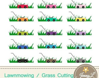 50% OFF Lawnmowing Clipart, Grass Cutting, Lawnmower clipart,  for Planners, Digital Scrapbooking, Invitations, cupcake toppers, Stickers, L