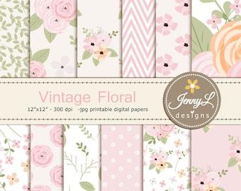 Floral digital paper, Vintage Flowers , Antique for Digital scrapbooking, invitations, birthday, wedding, Planners