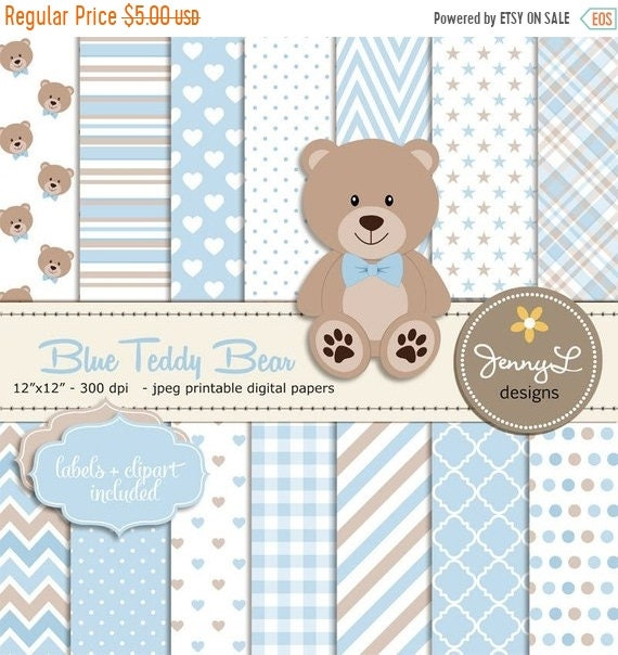 40% OFF Blue Teddy Bear Digital papers | Etsy