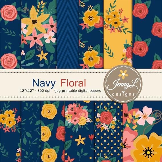 Navy Blue Floral Digital Paper Wedding Floral Paper Digital Etsy