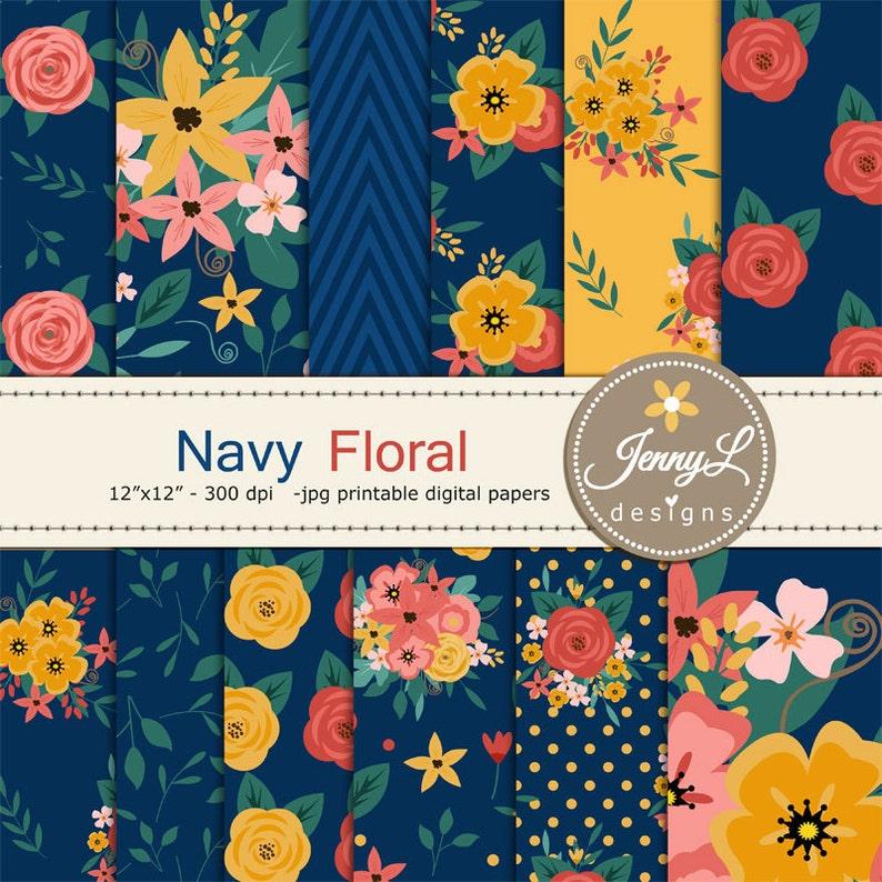Navy Blue Floral digital paper  Wedding Floral Paper Digital image 0