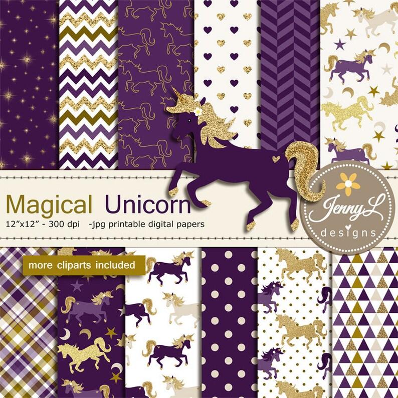 Unicorn Digital Papers and Clipart SET Gold Purple Unicorn image 0